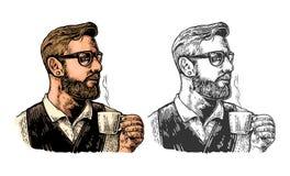 Hippie barista mit dem Bart, der eine Schale heißen Kaffee hält vektor abbildung
