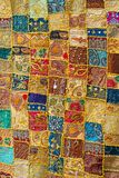 Hippie blanket. Hippie style mosaic cloth blanket from sixties Stock Photo