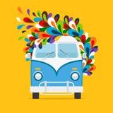 Hippie Blue Van Icon Stock Images