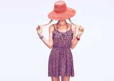 Hippie Boho woman Having Fun.Summer Fashion Outfit Stock Image