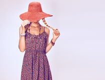 Hippie Boho woman Having Fun.Summer Fashion Outfit Royalty Free Stock Image