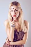 Hippie boho woman sending kiss. Romantic style Royalty Free Stock Photography