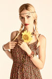Hippie boho woman with sunflower. Romantic style Stock Photos