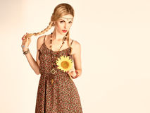 Hippie Boho woman, sunflower.Summer Fashion Outfit. Hippie Boho woman Having Fun. Playful positive Model Summer Fashion Outfit. Happy Blonde, Trendy Sundress Royalty Free Stock Images