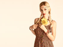Hippie Boho woman, sunflower.Summer Fashion Outfit Stock Photo
