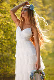 Hippie bride Stock Images