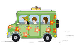 Hippie bus. Vehicle decorated in the style hippie Royalty Free Illustration