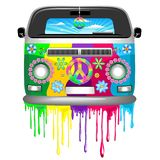 Hippie Bus with Dripping Rainbow Paint Groovy Retro Vechicle Vector Illustration. Groovy Hippie Colorful Van, painted with Rainbow Colors Dripping paint, Flowers royalty free illustration