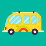 Hippie bus isolated on green background graphic poster Royalty Free Stock Image