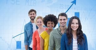 Hippie business people against graph Royalty Free Stock Images