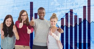 Hippie business people showing thumbs up against graph Stock Photo