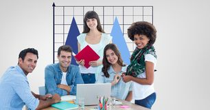 Hippie business people smiling in office Royalty Free Stock Image