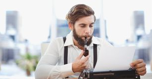 Hippie businessman smoking pipe while using typewriter. Digital composite of Hippie businessman smoking pipe while using typewriter Stock Photography