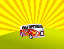 Hippie camper retro vintage van Royalty Free Stock Photo