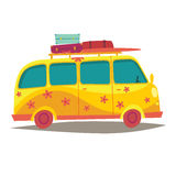 Hippie camper van. Travel by vintage yellow bus. Woodstock lifestyle. Tourism, summer holiday Stock Photography