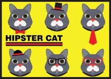 Hippie Cat Flat Cartoon Lizenzfreie Stockfotos