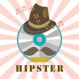 Hippie-CD und Musikausweis und -aufkleber Lizenzfreie Stockbilder