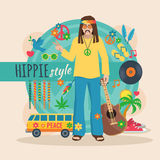 Hippie Character Pack For Man Stock Photography