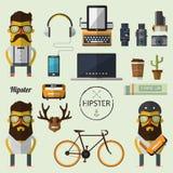 Hippie-Charakter mit Satz der zusätzlichen Ikone des Hippies im flachen Design lizenzfreie abbildung