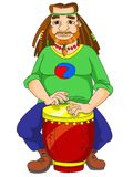 Hippie che gioca il bongo Fotografia Stock Libera da Diritti