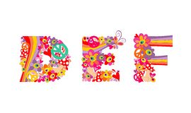 Hippie childish alphabet with colorful abstract flowers, rainbow and mushrooms. DEF. Hippie childish alphabet with abstract colorful flowers, rainbow and Royalty Free Stock Image