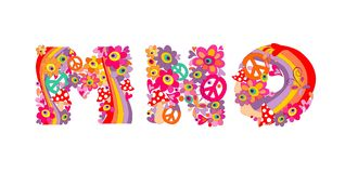 Hippie childish alphabet with colorful abstract flowers, rainbow and mushrooms. M, N, O Royalty Free Stock Image