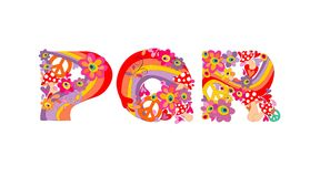 Hippie childish alphabet with colorful abstract flowers, rainbow and mushrooms. P, Q, R Stock Photography