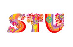 Hippie childish alphabet with colorful abstract flowers, rainbow and mushrooms. S, T, U Stock Photography