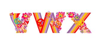 Hippie childish alphabet with colorful abstract flowers, rainbow and mushrooms. V, W, X Stock Images
