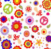 Hippie childish colorful wallpaper with mushrooms Stock Image