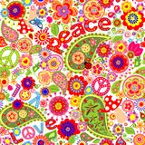 Hippie childish colorful wallpaper with mushrooms and poppies Stock Image
