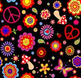 Hippie childish funny wallpaper with abstract flowers, mushrooms and peace symbol Stock Photo