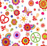 Hippie childish funny wallpaper with abstract flowers, mushrooms, rainbow and peace symbol Royalty Free Stock Photos