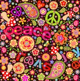 Hippie childish funny wrapper with abstract flowers, mushrooms and peace symbol Stock Images