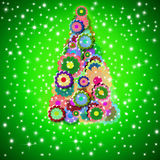 Hippie christmas tree greeting card Stock Image