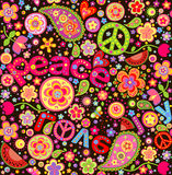 Hippie colorful wallpaper with watermelon. Paisley and funny flowers Royalty Free Stock Images