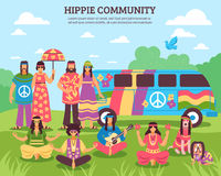 Hippie Community Outdoor Composition Stock Photography
