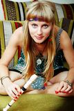 Hippie con una flauta Foto de archivo libre de regalías