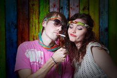 Hippie couple Stock Photos