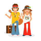 Hippie Couple Hitchhiking Vector Illustration Royalty Free Stock Photography
