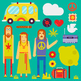 Hippie culture style vector characters and symbols. Hippie culture style concept. Vector hippy characters and attributes symbols of peace or pacific sign Royalty Free Stock Photos