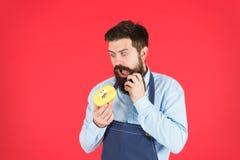 Hippie de bonbon Beignet de prise de Baker Hippie drôle Cuisinier barbu d'homme Homme de chef en café Régime et nourriture saine  photos libres de droits