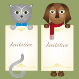 Hippie de chien de chaton de chat de carte d'invitation rétro Photographie stock libre de droits