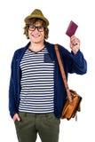 Hippie de sourire tenant un portefeuille en cuir Images stock