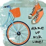 Hippie de vélo de croquis de chaussures en caoutchouc Image stock