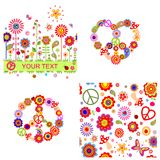 Hippie design with heart shape, peace symbol, abstract flowers and mushrooms Stock Image