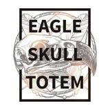 Hippie-Design mit Eagle Skull Stockfotografie