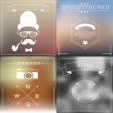 Hippie-Element- und -ikonensammlung mit Weinlese und Retrostil Stockfoto