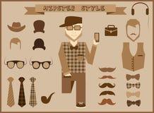 Hippie-Element- und -ikonensammlung mit Weinlese und Retrostilcharakter stock abbildung