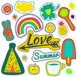 Hippie embroidery neon summer patches collection. Stock Photo